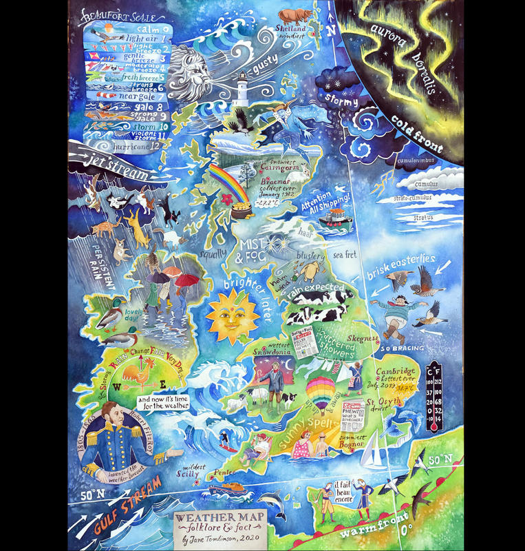 Weather Map - folklore and fact, by Jane Tomlinson  - watercolour & inks - size A1 - original £1595, prints £36 - also tea towels and cards