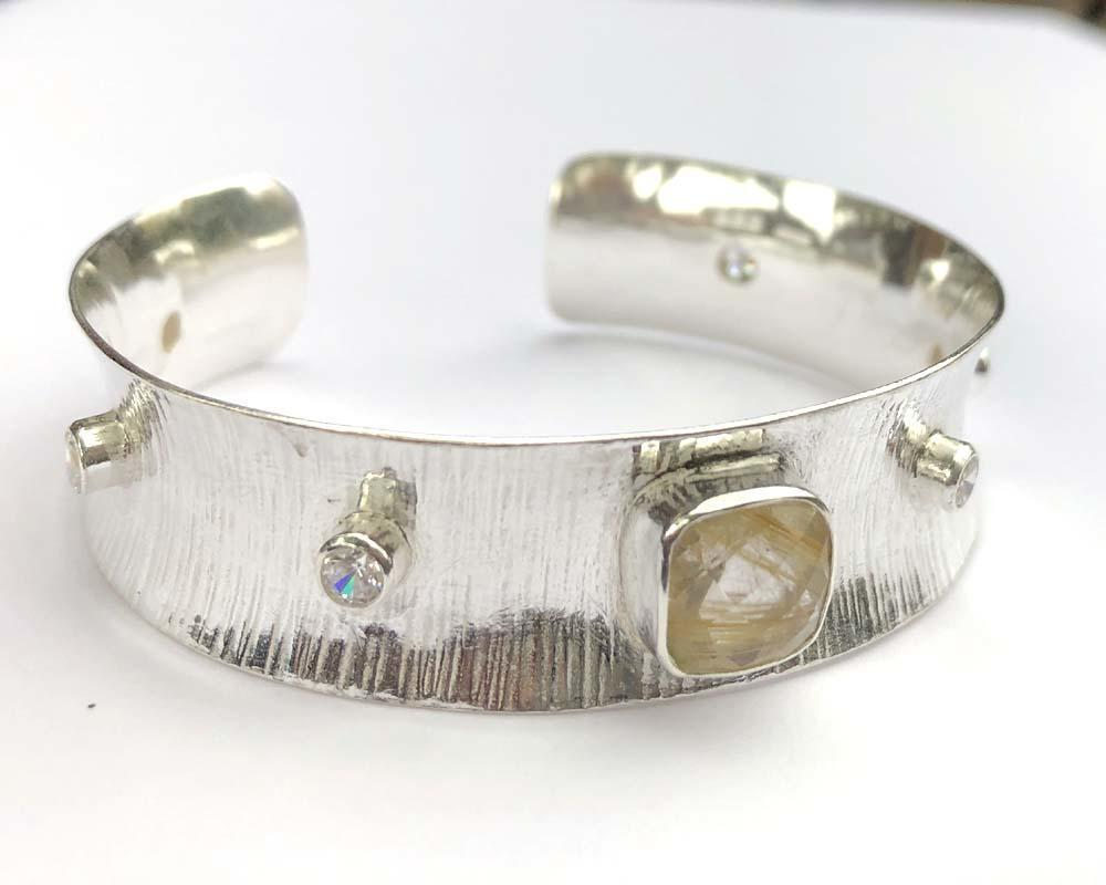 sterling silver bangle with rutilated quartz