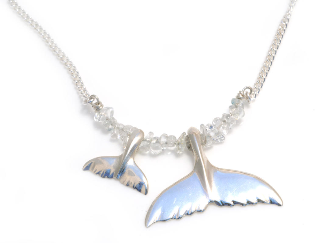 Mum and baby whale necklace