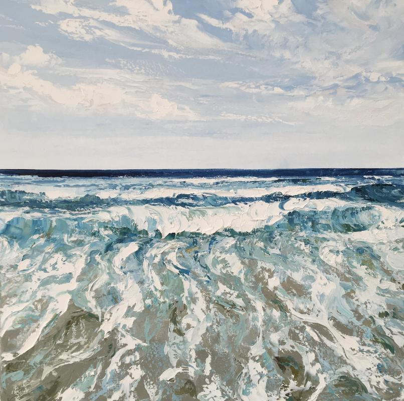 "Atlantic Seascape 24""x24"" oil on canvas"