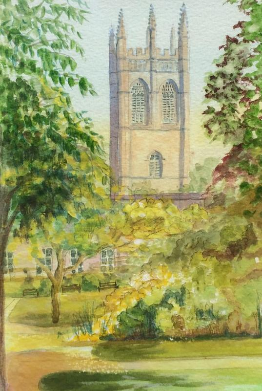 Magdalen Tower.  £55.  Watercolour.  44h x 34cm.