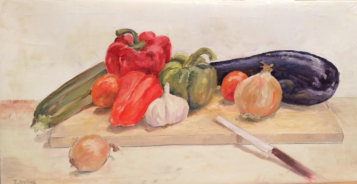 Ratatouille.  £50.  Oil.  26h x 50cm.