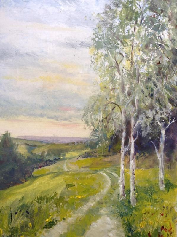 Watlington Hill.  £55.  Oil.  36h x 29cm.
