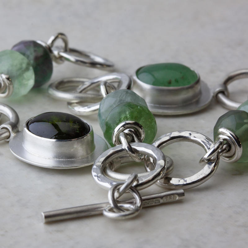 Sterling-silver and green-gemstone chain bracelet 7.5ins £120