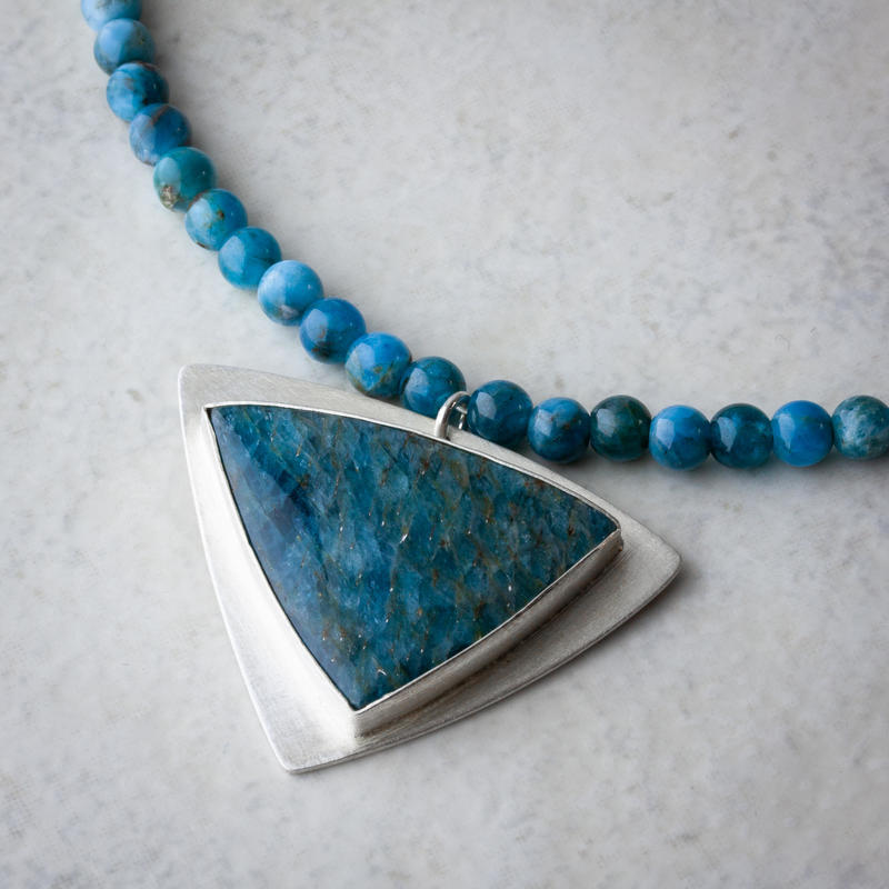 Sterling-silver and apatite necklace 15.25ins £145