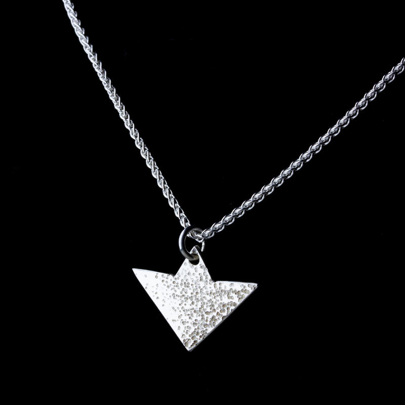 Sterling-silver scatter-textured arrowhead pendant on 18in chain £42