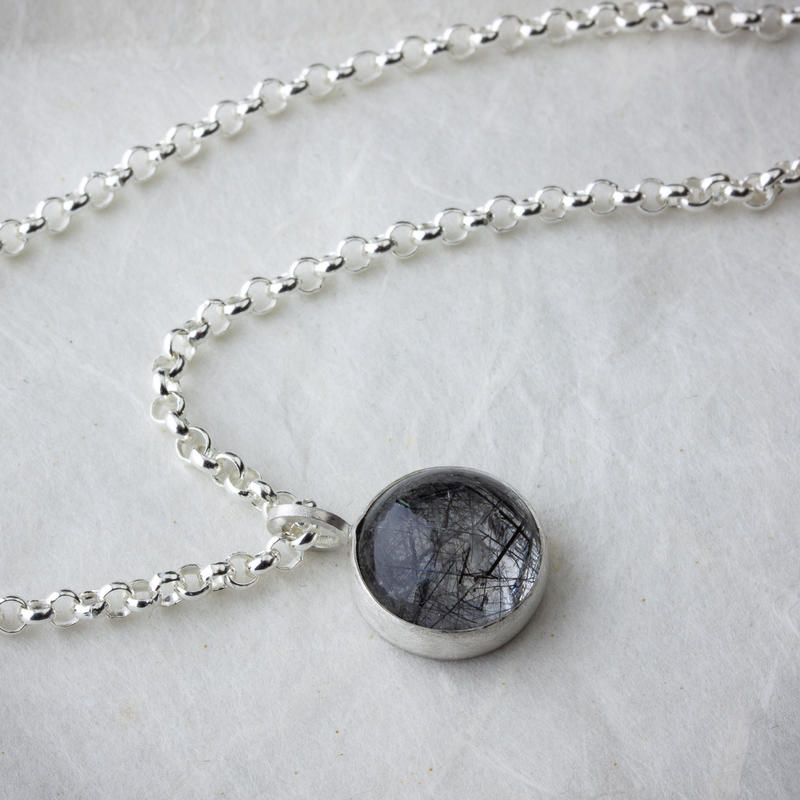 Sterling-silver and rutilated-quartz pendant on 14in belcher chain £82