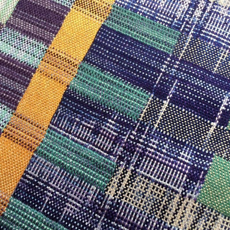 Handwoven double cloth with ikat dyed warp
