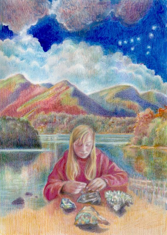 Alice with Crystals coloured pencil and gouache private commission 2021
