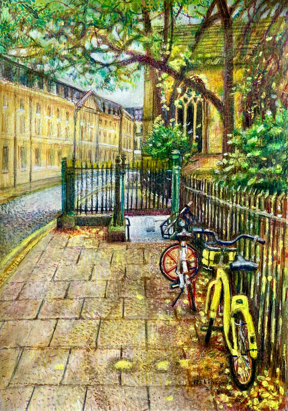 Magdalen Street Cycles coloured pencil and gouache 2021