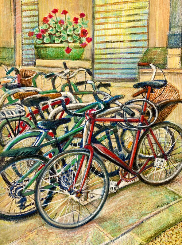 Oxford Cycles coloured inks and gouache 2021