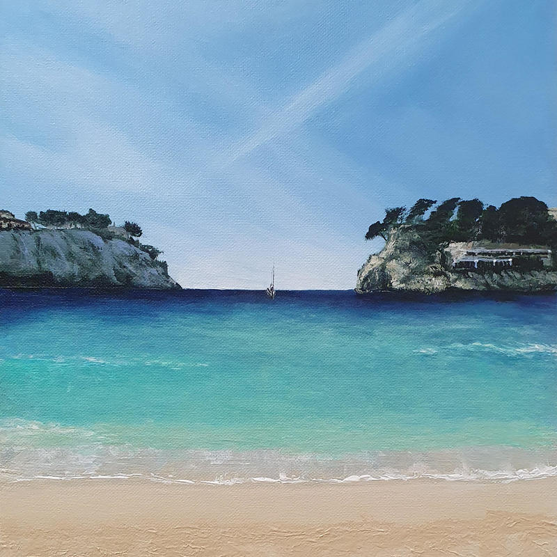 Balearic Vibes. Inspired from a beautiful part of Menorca a view sitting on the beach with sandy toes and hot sun on the skin just watching the sea and life go by. Prints available from £35, greetings cards £3