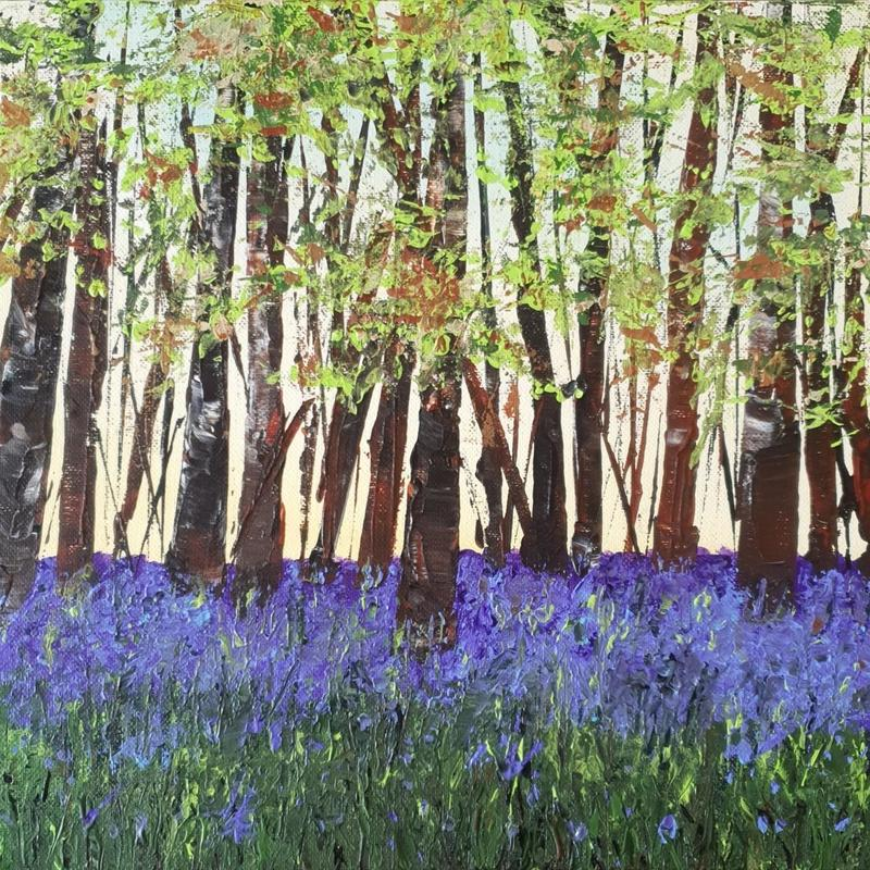 """Bluebell Carpet 12x12"""" Acrylic on Canvas painted with palette knife. There is nothing like bluebells and seeing the woods carpeted in purple/blue shades. So delicate but such a huge impact. this is a memory from some bluebell woods in Oxfordshire.  Original available £75, Prints from £35, greetings cards £3"""