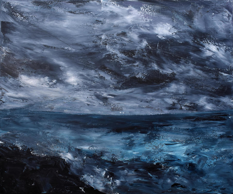 Night waters 23.5x19.5 inch acrylic on deep edge canvas using palette knife. It reminds me of Trebetherick, on the rocks looking out towards Padstow with water crashing on the rocks and the dramatic night sky. Dramatic yet calming. Original painting £345, Prints from £45.