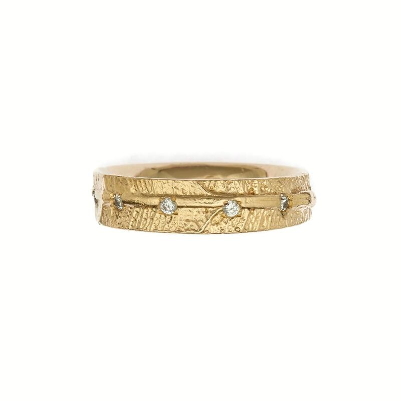 Leaf vein eternity ring in 18ct yellow gold and diamonds £1600