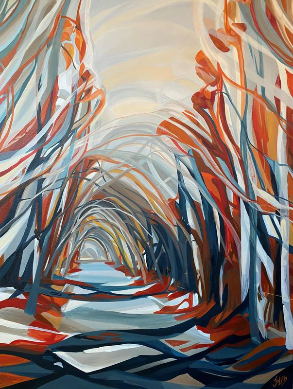 Jo Lillywhite 'Autumnal Woods' £800 76x100cm acrylic on canvas