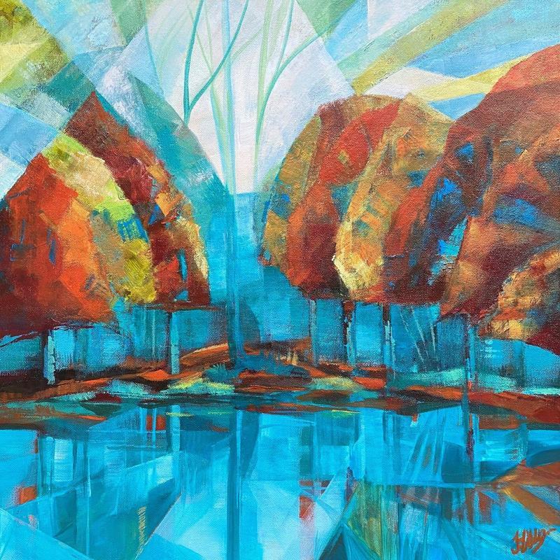 Jo Lillywhite 'Autumn Jolly Pond' £400  50x50cm acrylic on box canvas