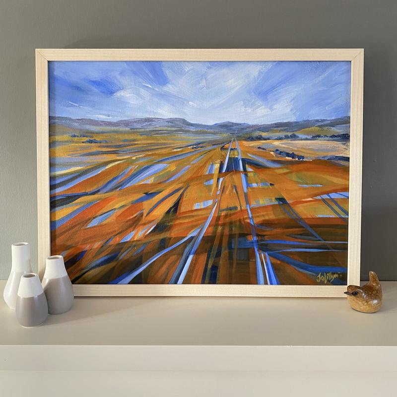 Jo Lillywhite 'Linear Plains' £240  30x40cm framed acrylic on canvas