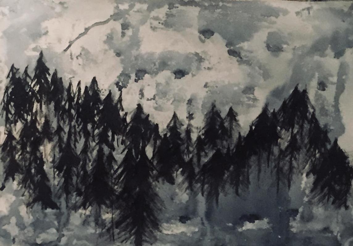 The pine woods/ move/ In the mist