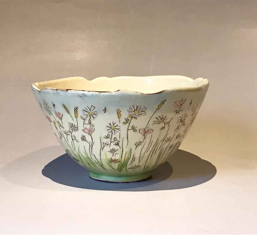 Thrown Bowl with meadow flowers.