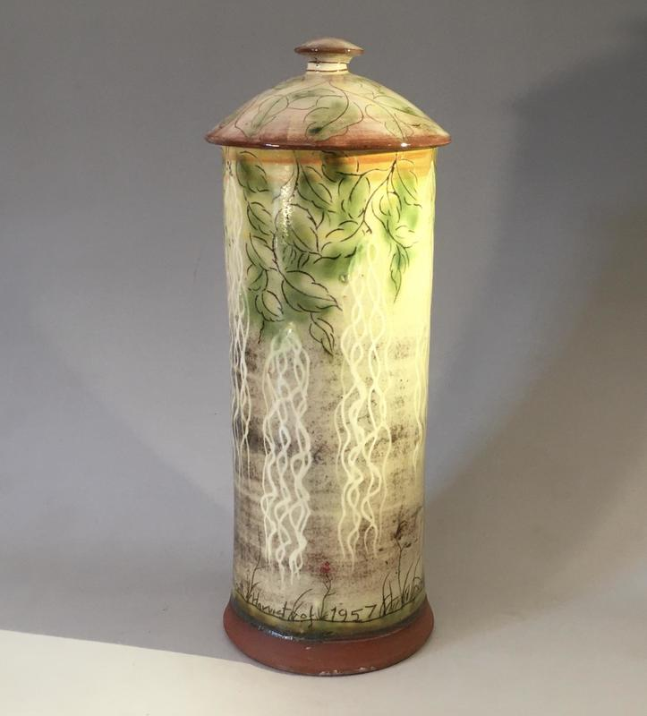 """""""The Spaghetti harvest of 1957"""" slipware and sgraffito.  by JN"""