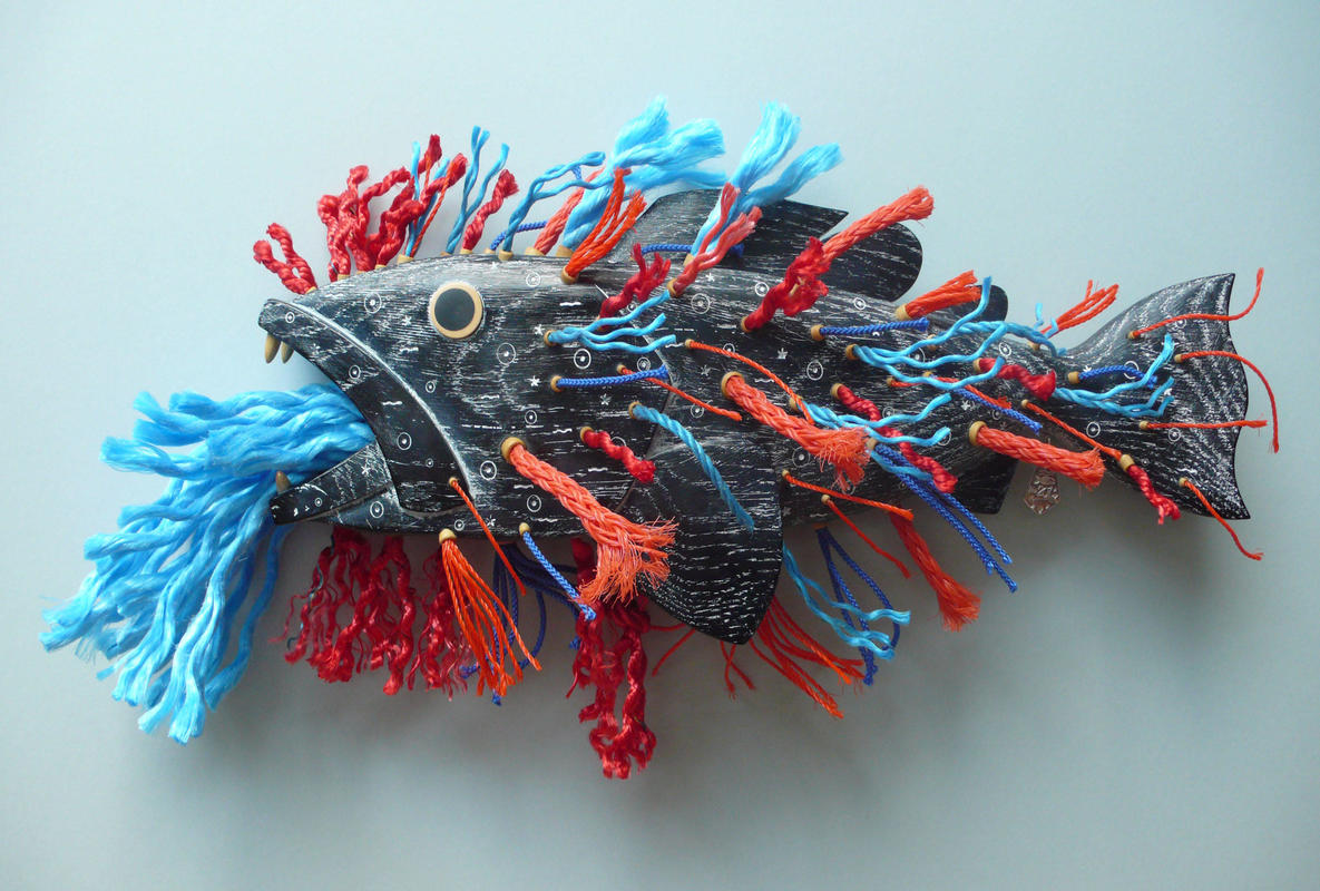 Ghost Fish No207 £760  W56cm x H26cm x D14cm  Oak, Boxwood silver and Marine rope with silver tag