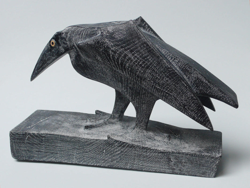 Stalking Bird No211 £480  W31cm x H19cm x D8cm  Ebonised and Limed Oak with Boxwood and Silver tag