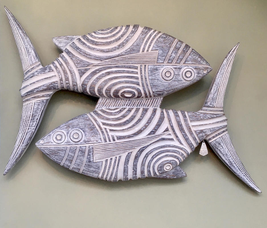 Two Fish No 216  £520  W51cm x H36cm x D5cm  Oak, Gesso and Silver Tag