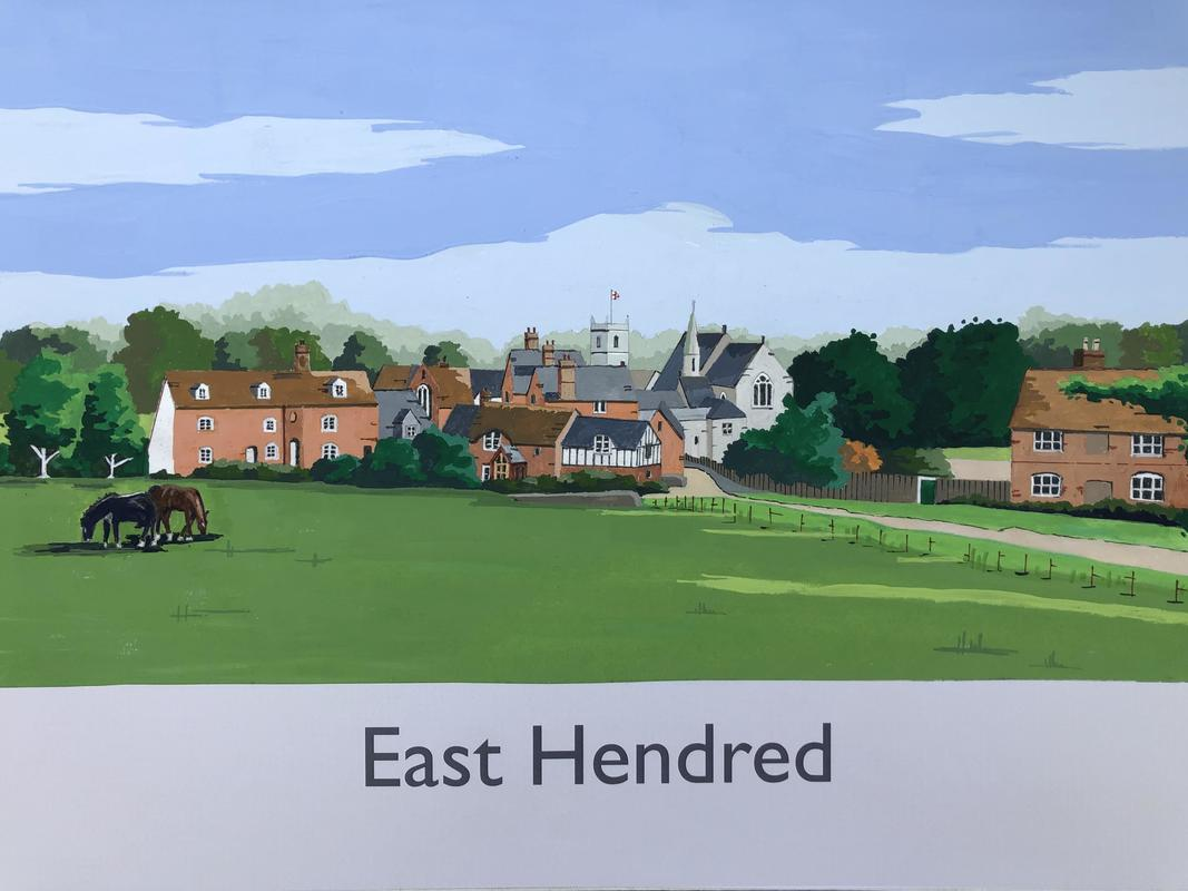 East Hendred in railway poster style by John Seaton. Price £100.