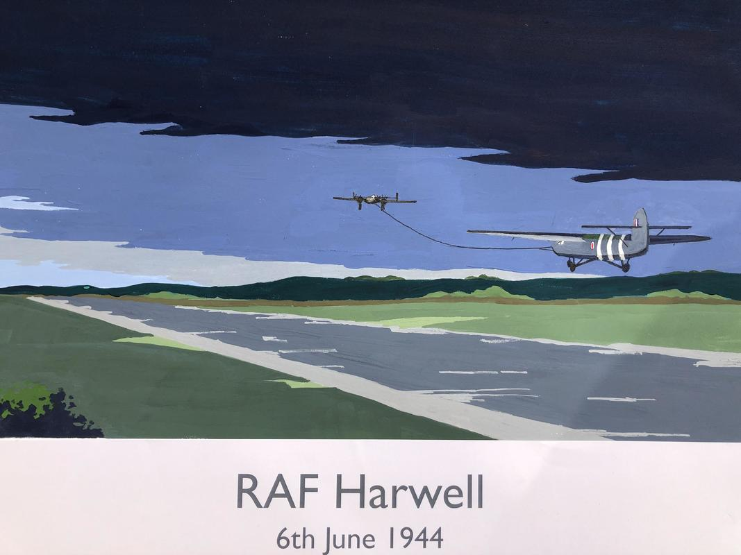 RAF Harwell  on D-Day. Railway poster style by John Seaton. Price £100.