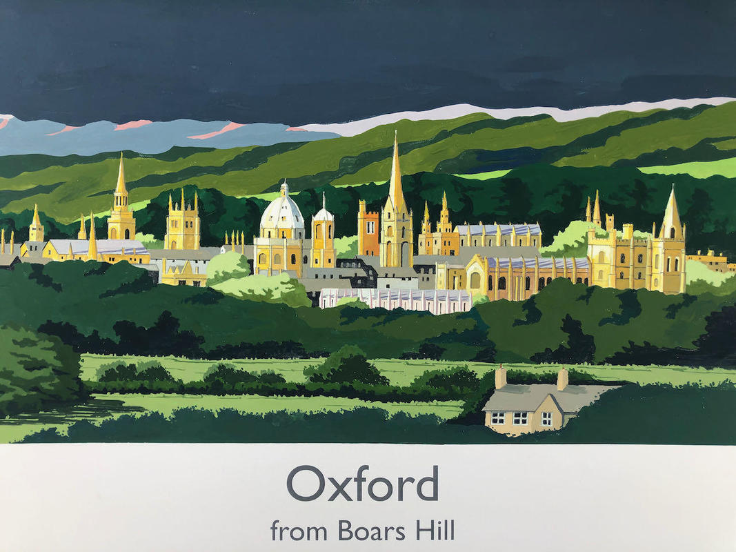 Oxford from Boar's Hill in railway poster style by John Seaton. NFS - but another could be created!
