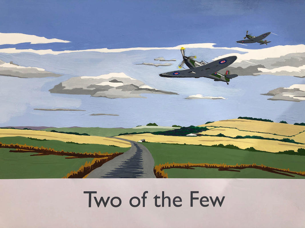 Spitfires over the Ridgeway in railway poster style by John Seaton. Price £100.