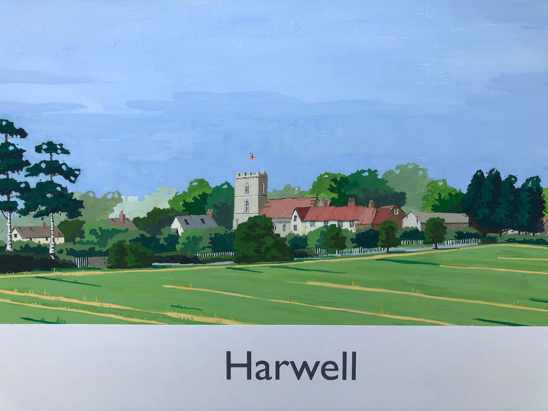 Harwell, Oxfordshire in railway poster style by John Seaton. Price £100.