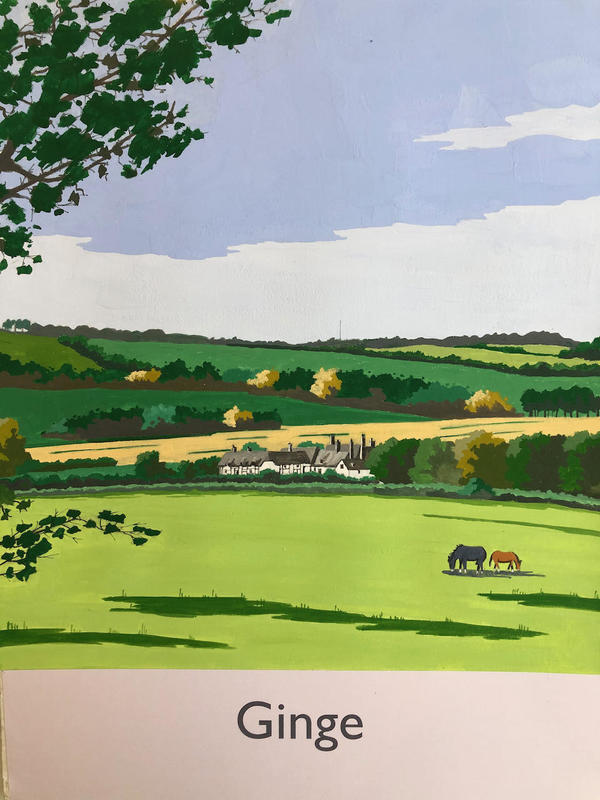 Ginge, Oxfordshire in railway poster style by John Seaton. Price £100.