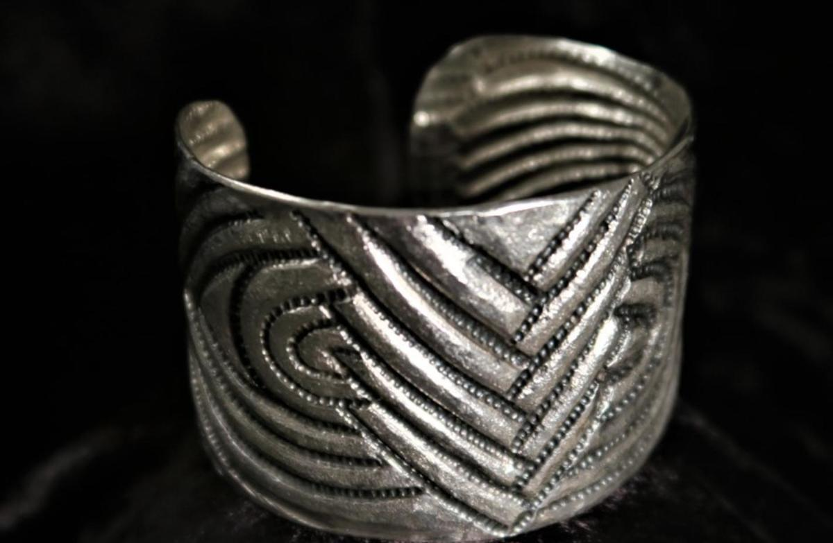 Sterling silver (chasing and repousse) cuff inspired by Paul Klee Museum in Berne - £200
