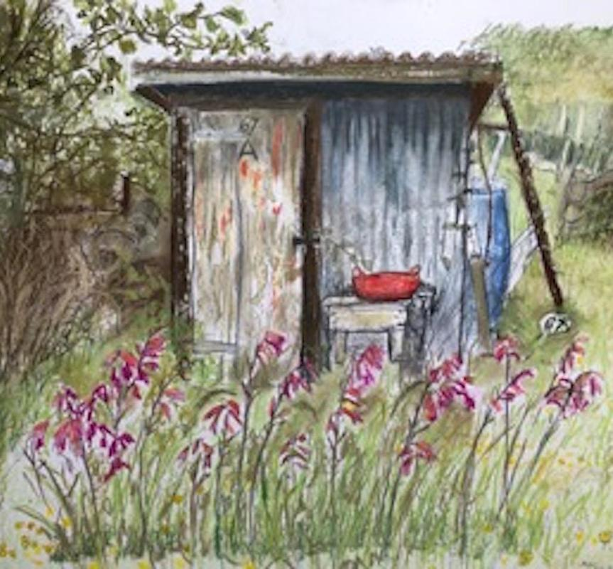 Miss Rose's Shed  - allotments mixed media framed 66x50cm £750 Giclee print also available