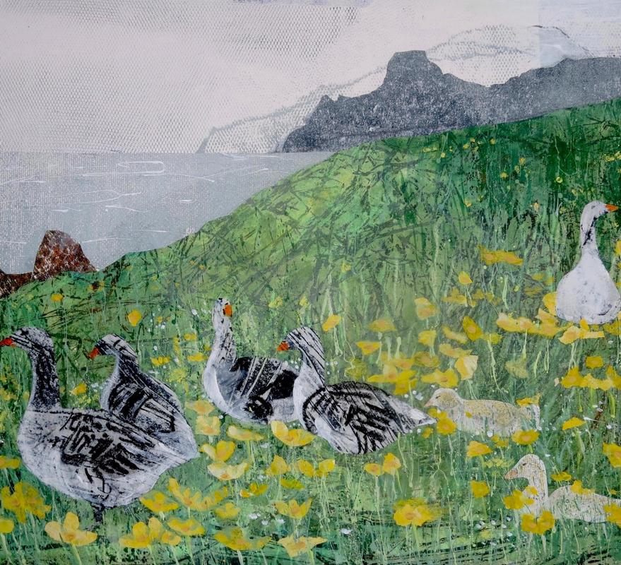 Detail: 'Marsh marigolds and geese - Faroe Islands' mixed media 42x31cm £550