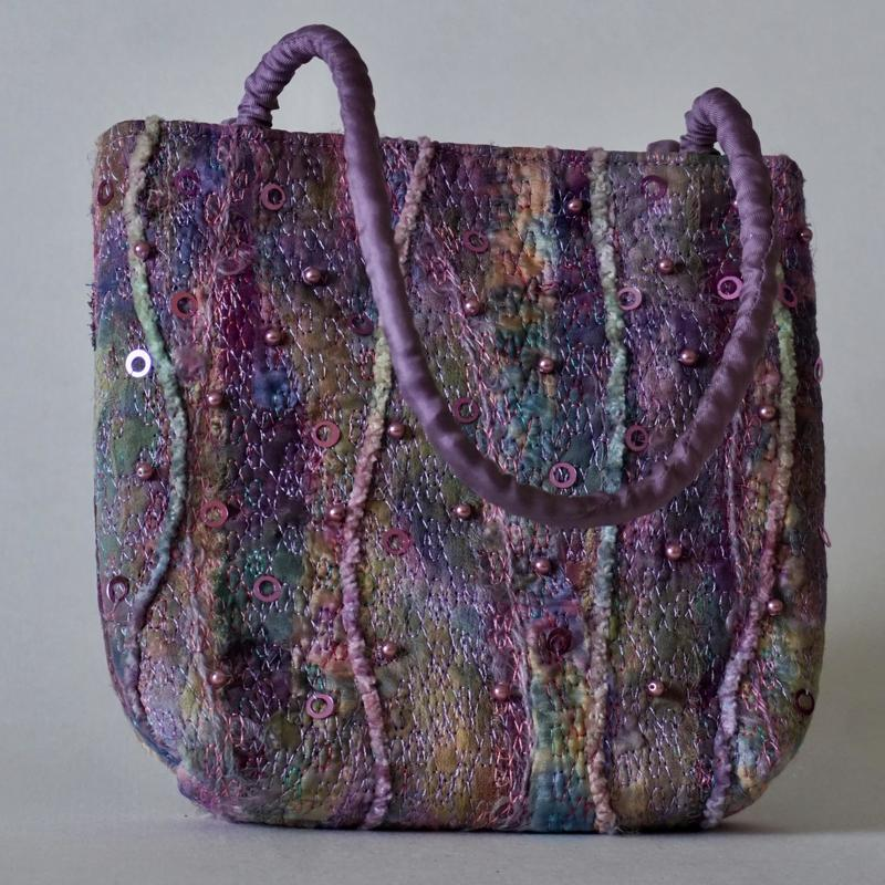 'Fugue' Bag, hand and machine embroidered, hand dyed threads