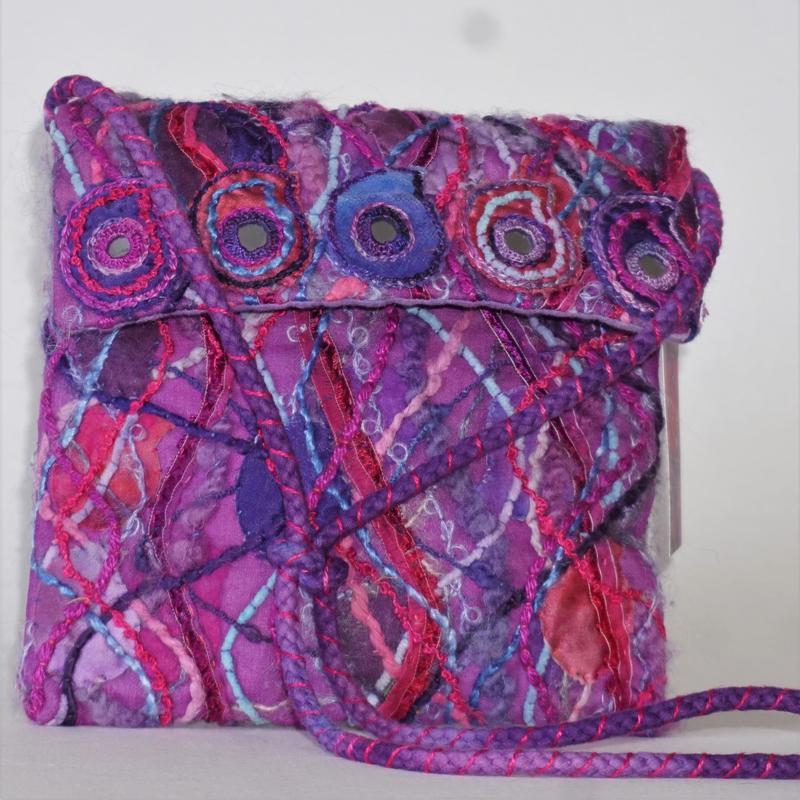 'Fuchsia Paisley' Bag, embroidered with hand dyed threads and fabrics