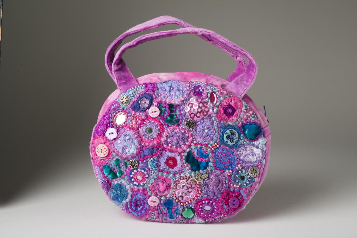 'Foxglove Fantasy Bag' hand embroidery, hand dyed fabrics and threads