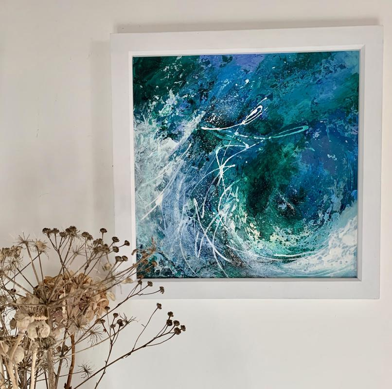 'Gale Force' Acrylic and mixed media on wooden panel. 30cm x 30cm plus frame. £215