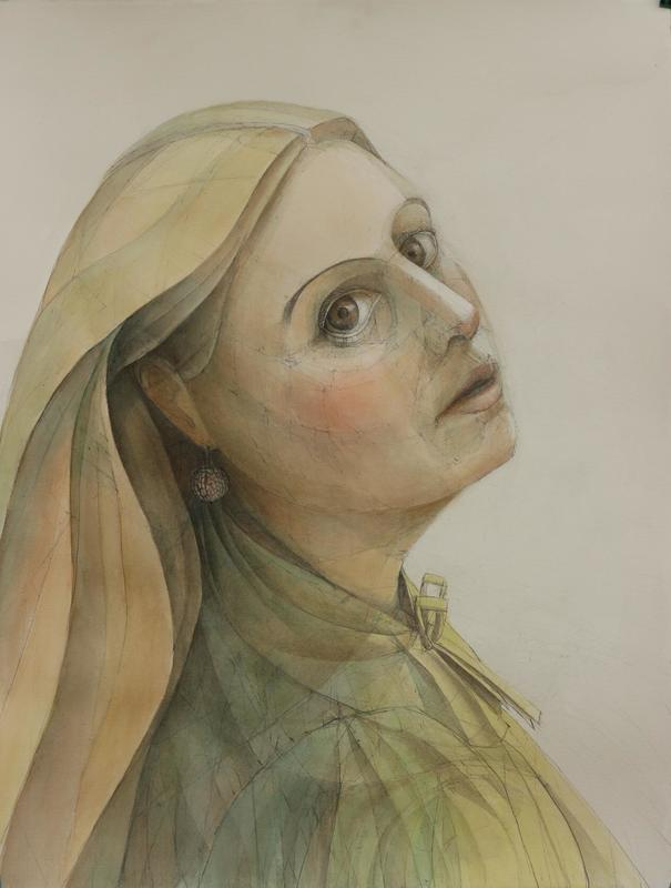 The Glance. Watercolour, pencil & ink washes. Part of the Drawing from the Mind Project.