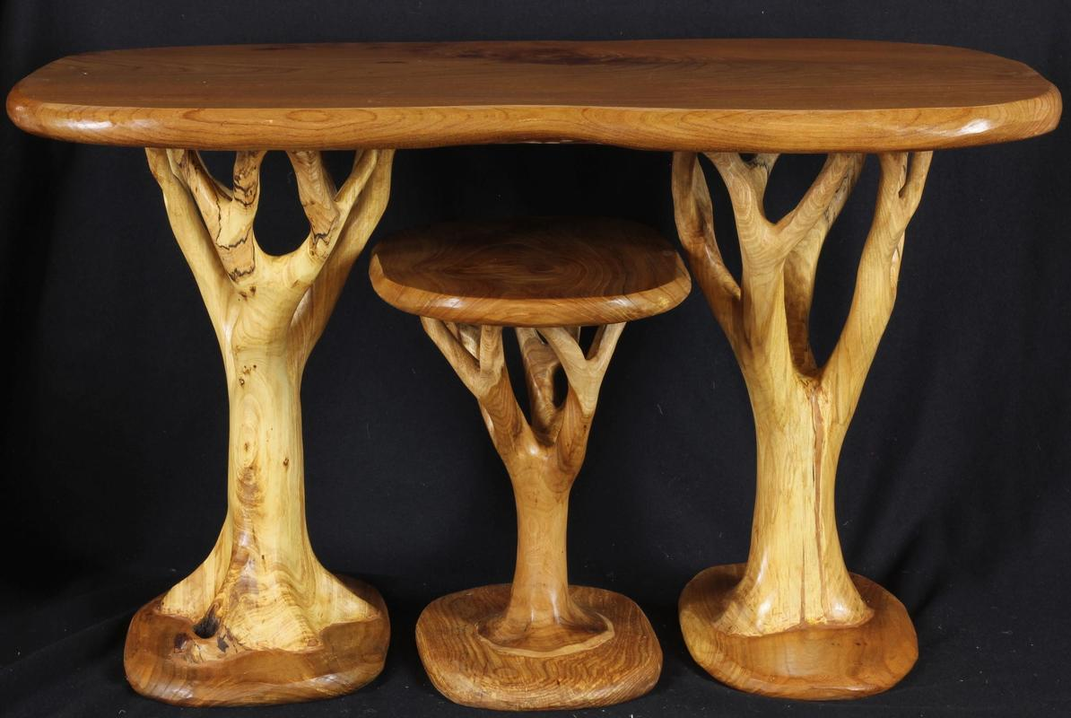 Elm nest of Tree-tables, hand carved from British elm wood.