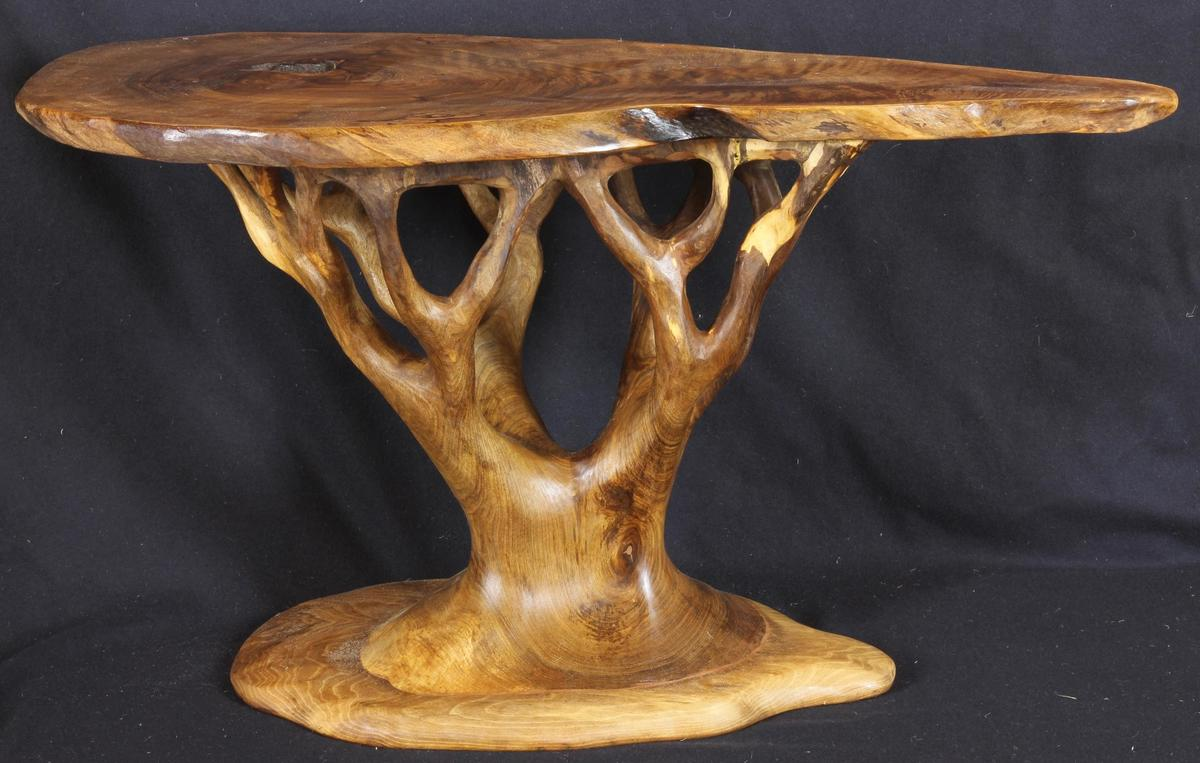 Walnut Tree-table, hand-carved from walnut wood sourced from within the UK.