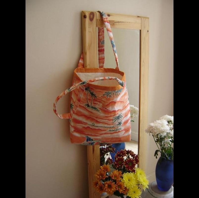 """Orange Tropical Tote Bag. £30. 16""""w x 14""""l x 3 ½ """"."""