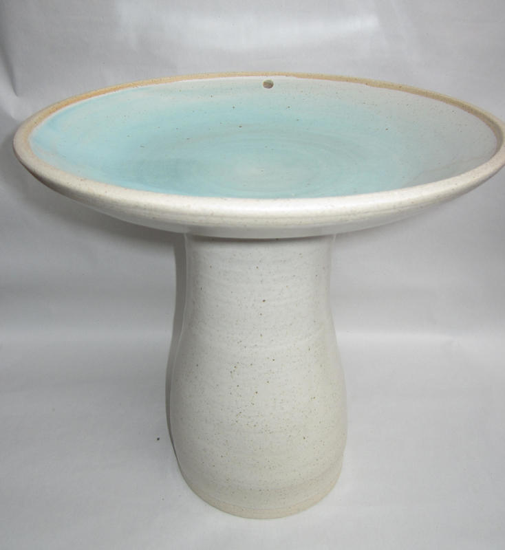 Bird Bath £80 specked off-white glaze. 30cm ht & diam