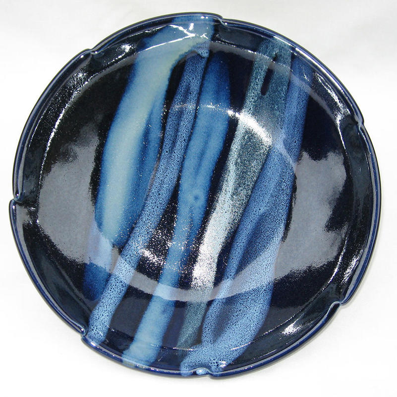 Platter. £50. 26cm Dark blue glaze with pours.