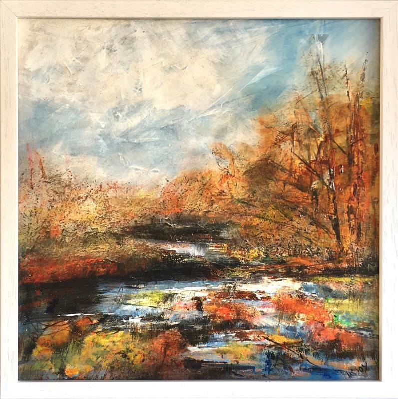 """Autumn stream 12x12"""" £190: framed 18x18"""" £230"""