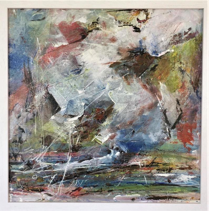 "landscape -12x12""acrylic on board £190 ( framed £230"