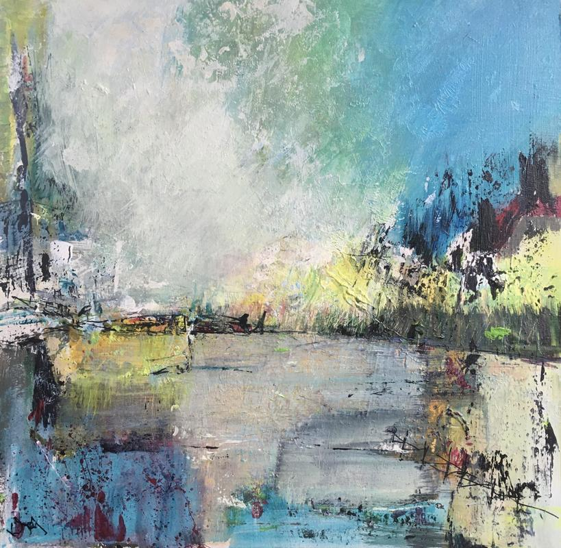 """The Brightness of the day: acrylic on board 12x12"""":  £150 (£ 190)"""